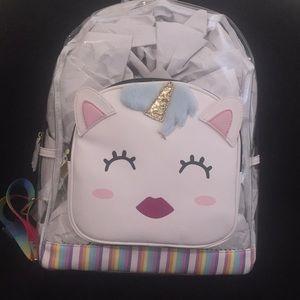 NWT: Betsey Johnson, clear, unicorn backpack